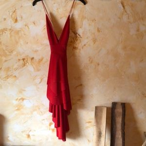 Red mini high low dress